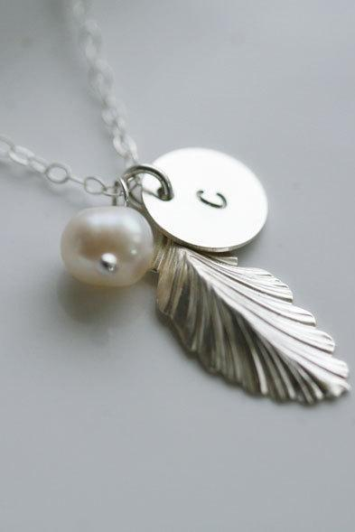 Silver Feather Necklace,Initial necklace,Custom initial birthstone,Fall Wedding,Bridesmaid gifts,Wedding,Birthday, Everyday jewelry