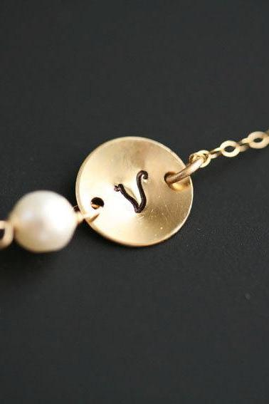 Gold Fill Necklace,Layering Necklace,Initial Necklace,Monogram Customize initial Necklace,Pearl Necklace,Bridesmaid Gifts