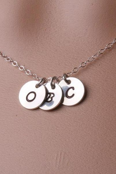 Three Small initial letter discs Necklace,Custom birthstone,Family,Daily Jewelry,Monogram,Sterling silver,Sisters,Friends,Couple