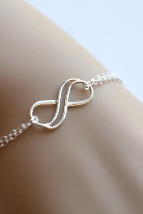 Double Infinity sterling silver bracelet, figure eight bracelet, infinite friendship bracelet,sisterhood,best friends bracelet