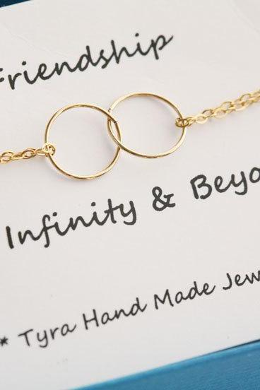 Best Friends Bracelet,Circle Bracelet,Eternity love circle,Sisterhood,Gold or Silver,wire wrapped,Wedding jewelry,Bridesmaid gifts