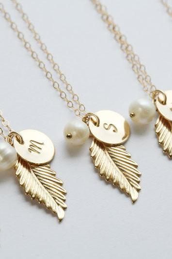 set of 6,Gold Feather Necklace,Initial necklace,Custom initial birthstone,Fall Wedding,Bridesmaid gifts,Wedding,Birthday, Everyday jewelry