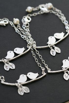 Set of 4,Initial Bracelet,Bird on the branch,Leaf initial,Bridesmaid gifts,Wedding Jewelry,Mother Jewelry,Mom and baby