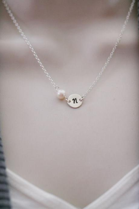 Initial Necklace, Tiny Initial Charm and pearl Sterling silver Necklace,simple daily jewelry, Birthday, Bridesmaid Necklaces