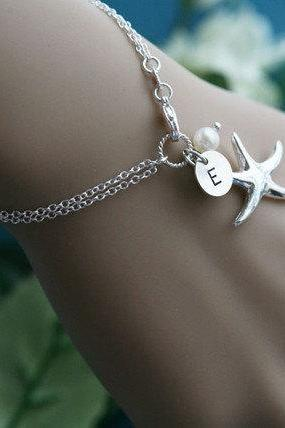 Starfish bracelet,Beach wedding,bridesmaid gifts,sisterhood,customize birthstone,wedding