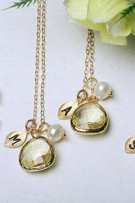 Set of 6,Bridesmaids gifts,Leaf initial,Initial Necklace,Gold Filled,Wedding Jewelry,Bridal jewelry,Custom Initial