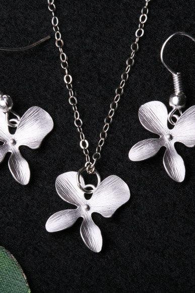 Orchid Flower Jewelry Set,Orchid flower necklace and earrings,Flower girl gift,Wedding Jewelry,flower Jewelry