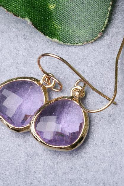 Pink Amethyst Gold Filled Earrings,Stone in bezel,Simple everday daily Jewelry,Bridesmaid gifts,Birthday,Best friends,Anniversary