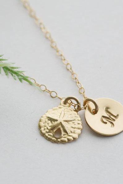 Sand Dollar necklace,14k Gold fill necklace,Custom initial,beach ocean wedding,initial necklace,bridesmaid gifts,everyday jewelry