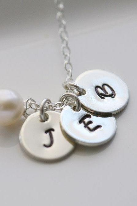 Three Initials Necklace,Custome birthstone,Sterling Silver,Personalized,Birthday,Best Friend,Sisterhood, Mother's Jewelry