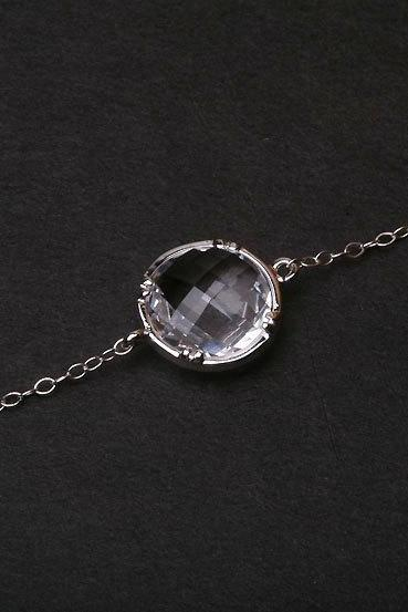Tiny Pendant Sterling silver Necklace,Cubic Zirconia stone,Stone in Bezel,Everyday Jewelry,Bridesmaid Gifts,Wedding jewelry