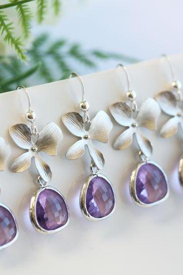 Set of 6,Pink Amethyst Earrings,Stone in bezel,Orchid flower Earrings,Flower Jewelry,Bridesmaid gifts,Wedding Jewelry,Bridesmaid Earrings