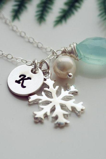 SNOWFLAKE necklace,Personalized initial and birthstone,WINTER WEDDING,Christmas gift,Bridesmaids Gifts,Wedding jewelry Gift