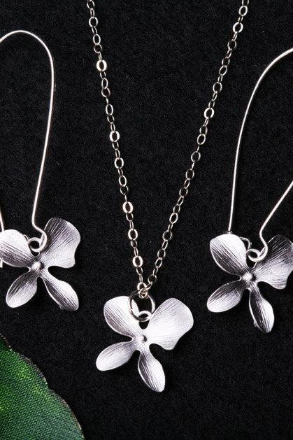 Bridesmaid gifts,Jewelry Set,Orchid flower necklace and earrings,Flower girl gift,Wedding Jewelry,flower Jewelry
