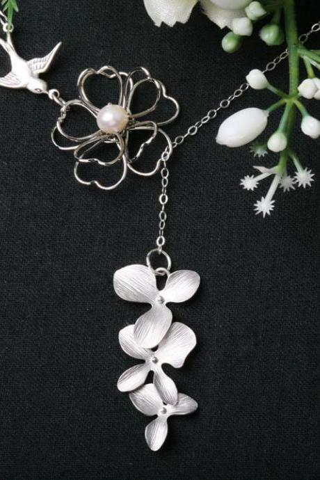 Wire wrapped pearl necklace,Bird sparrow,orchid flower,lariat,flower girl,bridesmaid gifts,wedding jewelry,bridal jewelry