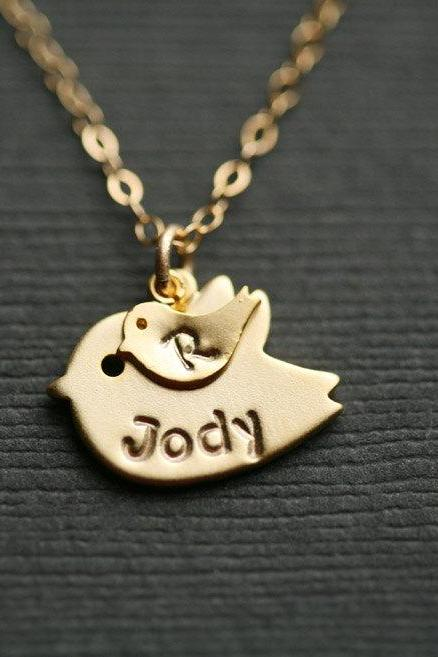 Up to 4 initial,Bird initial,Personalized INITIAL,Monogram necklace,One baby,Bird necklace,Mother Jewelry,Mom bird baby,Babyshower gift