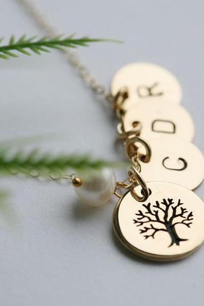 Family Tree Gold Filled Necklace,Custom monogram initial necklace,Mother jewelry,Birthday,Mother's day,Anniversary giftersary gift