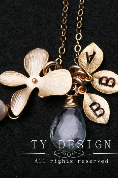 Gold Orchid Flower on Gold Fill Necklace,3 leaf initials,Personalized,Wire wrapped,Bridesmaid Gifts,Anniversary,Birthday