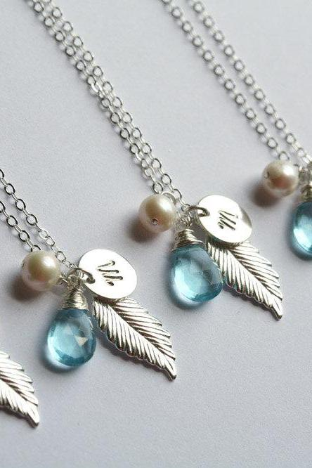 15% OFF,Set of 6,Monogram Necklace,Sterling silver Feather Necklace,Long leaf,Personalized,Bridal Wedding Jewelry,Bridesmaid
