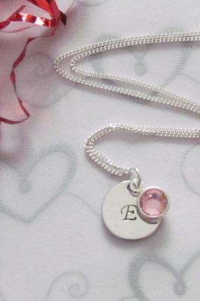 FANCY Initial Necklace - Swarovski Birthstone - Bridesmaid -Gift Box included - ReaDY To ShIP