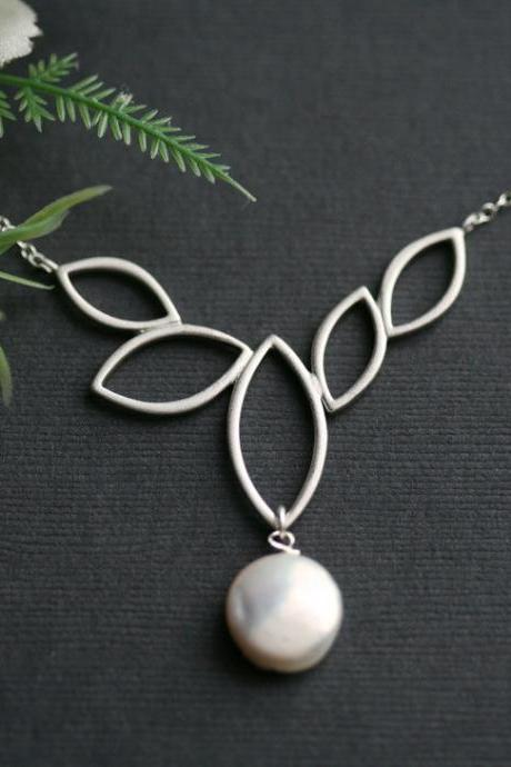 Marquise Leaves Silver pendant,Wedding Bridal Jewelry,Silver Branch leaf Jewelry,Coin Pearl,Modern
