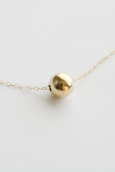Large Gold Ball 14k Gold Filled Necklace,Everyday Jewelry,Bridesmaid gifts,Wedding jewelry,Simplistic,Ball necklace