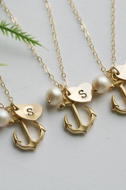 10% OFF,Set of 6,Gold Anchor Necklace,Anchor with Heart initial,Monogram necklace,Sailors Anchor,Navy Wedding Jewelry,Strength,Personalized