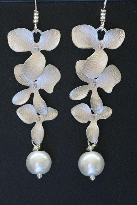 Romantic trio orchid and pearl earring,great bridesmaid gift,flower girl