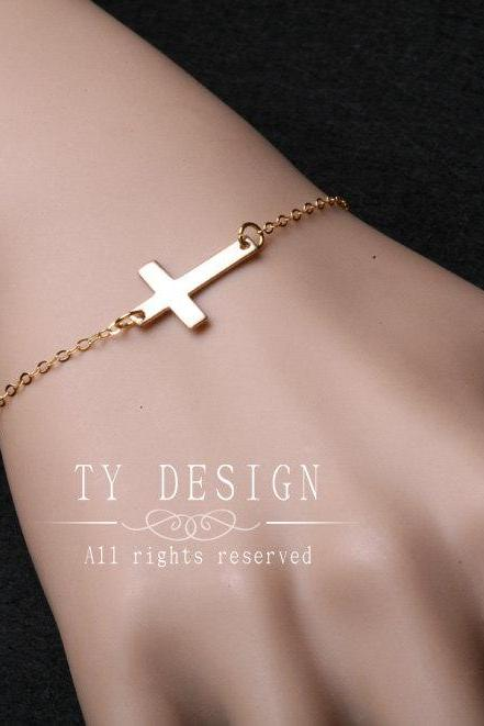 Sideways cross,Gold sideways cross bracelet,Gossip girl,religious,handcrafted small cross,daily jewelry