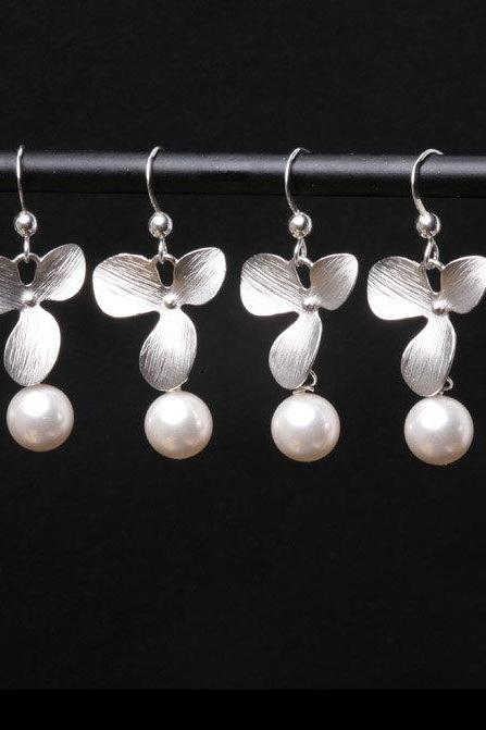 Set of 5,Orchid flower and pearl earrings,Sterling Silver Earrings, Wedding jewelry Birthday Bridesmaid gifts,birthday gift, mothers