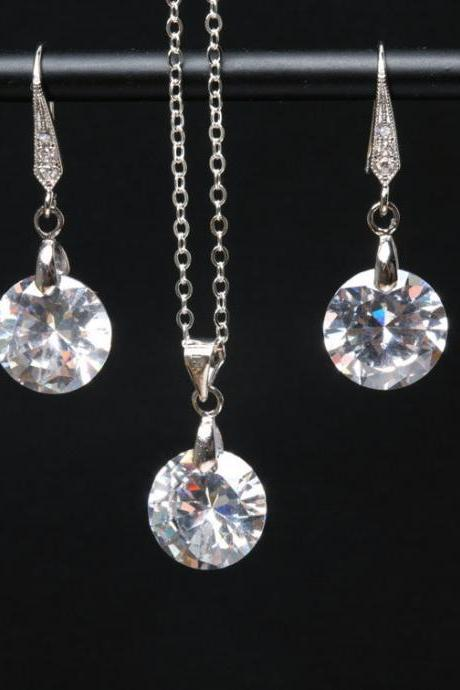 Bridal Wedding Necklace,Large cubic zirconia teardrop,Bridesmaid gifts,Flower jewelry,Diamond CZ necklace and earrings