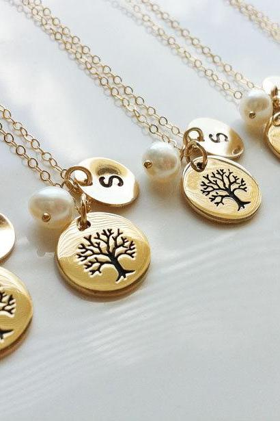 SET of 5,Family Tree Gold Filled Necklace,Custom initial necklace,Mother jewelry,Birthday,Mother's day,Anniversary giftersary gift
