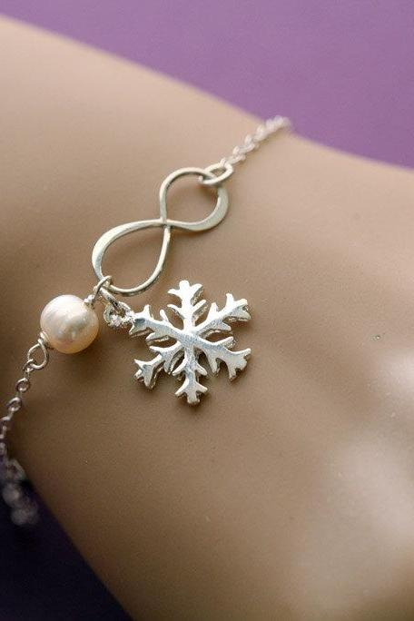 Snowflake bracelet,holiday,Best friends Bracelet,friendship to infinity,snowflake and infinity