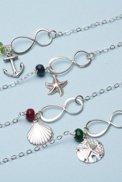 Set of 4,Beach Ocean Wedding,Infinity Bracelet,Anchor,sea shell,starfish,sand dollar,friendship,Bridesmaid gifts
