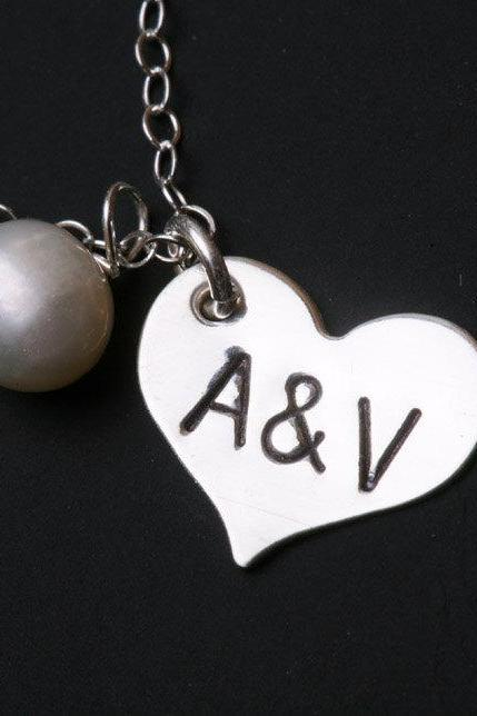 Personalized Initial,stamped heart Necklace,two become one together,anniversary gift,birthday,best friends,couple