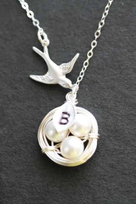Original Version,Mom's love,custom initial,mom and baby,nest and bird sterling silver necklace
