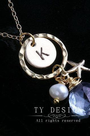 Starfish Necklace,Gold Fill Circle necklace,Pearl,Custom initial & birthstone,Bridesmaid gifts,Birthday,Wedding,Mother's Jewelry