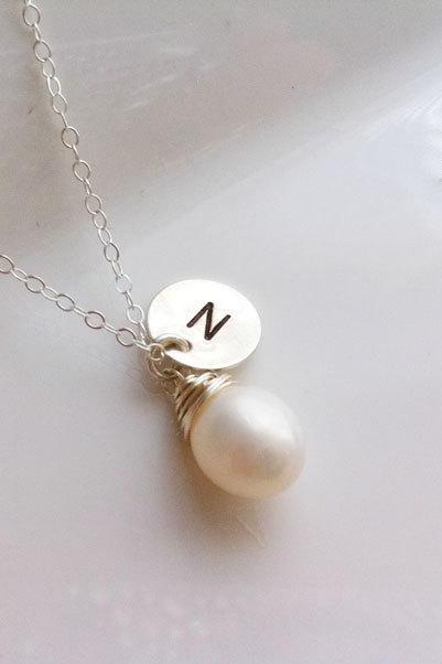 initial necklace,wire wrapped pearl,Bridesmaid Gifts,Custom initial and birthstone,initial letter charm,