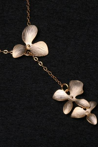 Orchid Flower Gold Fill Necklace,Flower jewelry,Bridesmaid gifts,wedding jewelry gift,Flower girl,Best friends