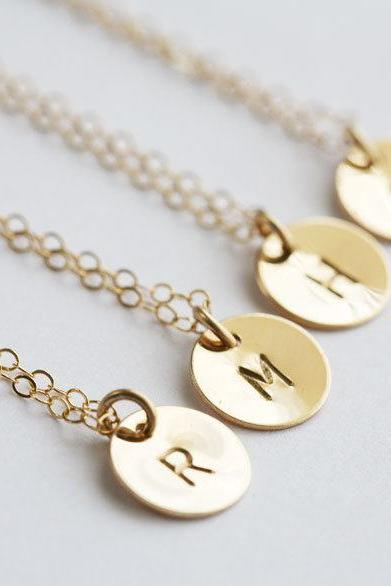 Set of 5,Custom Initial GOLD Filled Necklace, Tiny Initial Letter charm, Everyday daily Jewelry, Birthday, Bridesmaids Jewelry