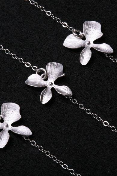 Bridesmaid Gifts,6 Sets.Orchid Flower Sterling Silver Necklace,Flower Jewelry,Flower Girl,Daily Jewelry,Wedding Jewelry gift