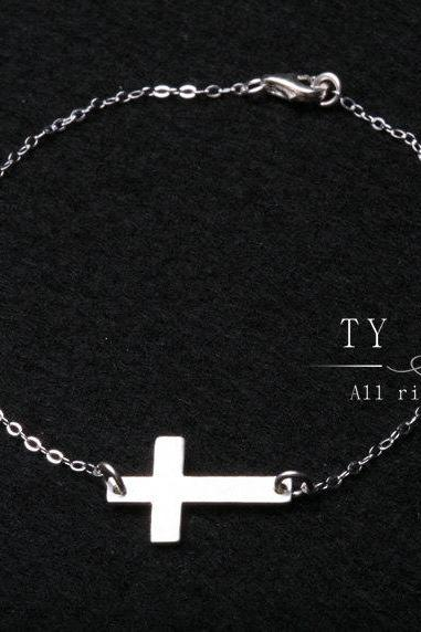 Sideways cross bracelet,Sterling silver handcrafted cross bracelet,blessed,gossip girl,everyday jewelry,daily jewelry