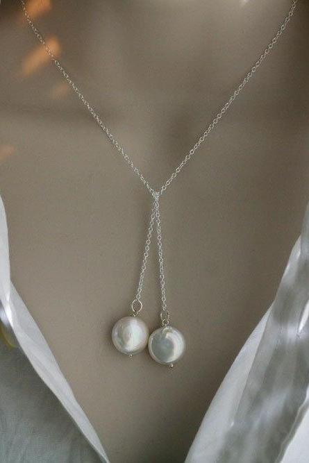 Wire wrapped Pearl necklace,Freshwater coin pearl lariat necklace,Birthday,Anniversary,Bridesmaid gifts,Everyday Jewelry