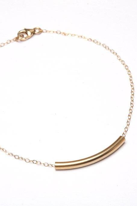 14K GOLD FILLED,Gold Bar bracelet, Everyday jewelry,Layering,Simply,Bridesmaid Gifts,birthday,Friendship
