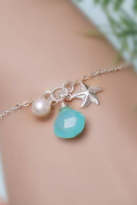 Starfish Monogram Bracelet,Personalized starfish Bracelet, Bridesmaid's gifts,Mother's Jewelry, Wedding jewelry, Bridesmaid gifts