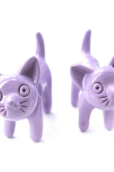 3D Fake Gauge Adorable Kitty Cat Animal Stud Earrings in Pale Purple