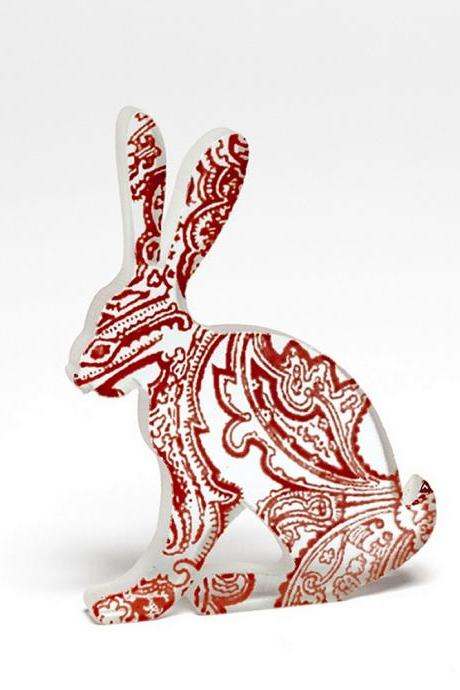 Red Paisley Hare Glass Sculpture
