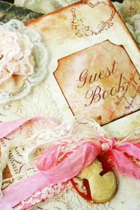 Hannah - Custom Vintage style Guest book for wedding - vintage shabby chic - 100 pages