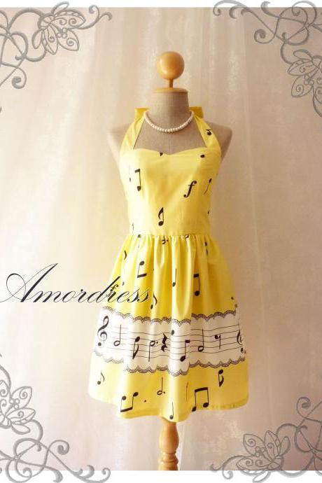 Music Lover Yellow Dress Retro Party Cocktail Bridesmaid Choir Birthday Concert Event Every Day Dress -Size XS,S,M,L,XL-