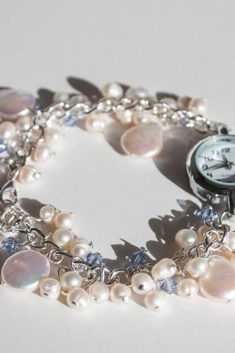 Something blue, bridal watch bracelet, Ivory freshwater pearl with pale blue Swarovski crystals.